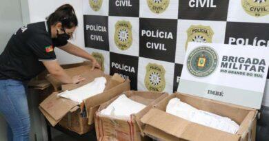 Operação apreende 108kg de matéria-prima destinada à preparação de cocaína em Imbé