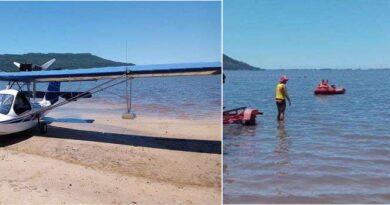 Bombeiros resgatam piloto que teve problemas com aeronave na Lagoa dos Barros